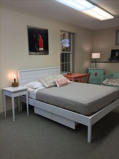 Chiltonu0027s Maple Shiplap Bed Now Has Storage! Choose Two Or Four Drawers.  Shown In Fog. Chilton Furniture, Freeport, ME,