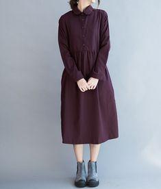 Cotton large size Long Maxi Dress Loose Fitting Bat by MaLieb