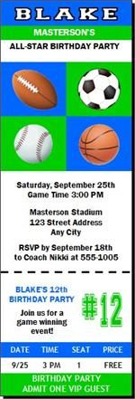 Sports Balls Birthday Party Invitations & eCards from Print Villa...personalized just for you!