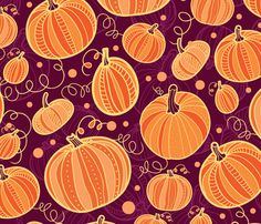 Vibrant Pumpkins fabric by oksancia on Spoonflower - custom fabric
