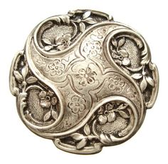 ANTIQUE SOLID SILVER ART NOUVEAU COMPACT | JV