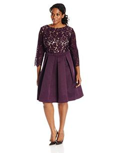 Eliza J Womens PlusSize Lace Fit and Flare Dress Eggplant 16W ** Read more reviews of the product by visiting the link on the image.