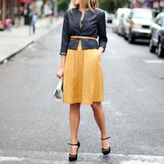 This color combination (will work with flats as well), and this works minus the belt and sweater as well.