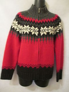 Red and Black sweater with White Poinsettias.  Lovely to wear to a formal party or for Hot Chocolate around the fire after a day skiing.