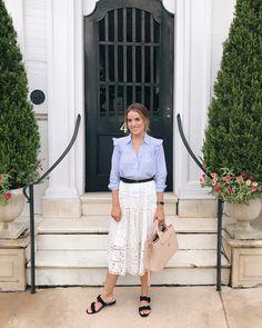 Outfit Details: Express Shirt, Zimmermann Skirt (similar here), Cuyana Belt, H&M Sandals (under $20), Chanel Bag (similar here)