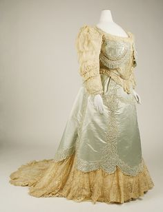 Evening dress Design House: House of Worth  Date: 1890s Culture: French Medium: silk Accession Number: C.I.48.70.2a, b