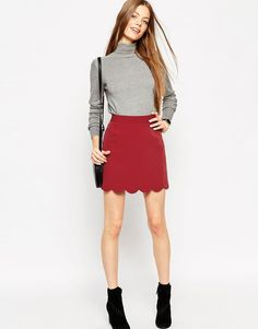 ASOS+A-Line+Mini+Skirt+with+Scallop+Hem