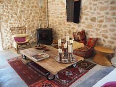 Moroccan inspired cushions and rugs at the pink pepper tree hotel