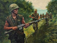 Affordable fine art prints, original oils, illustrations, military history brought to life by renown Civil War and Military artist Don Stivers. Vietnam Veterans, Vietnam War, Military Art, Military History, Army Drawing, Military Drawings, Military Tattoos, Good Morning Vietnam, American Soldiers