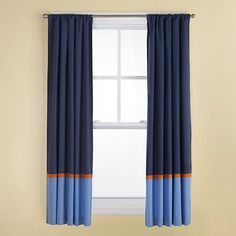 The Land of Nod | Kids Curtains: Kids Navy and Light Blue Curtains with Orange Trim in Curtains & Hardwares