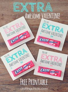 Sharing a free valentine printable today! Grab some mini packages of extra gum and add it to my printable that says. You are EXTRA Awesome Valentine! I just used double sided tape to affix Kinder Valentines, Homemade Valentines, Valentines Day Treats, Valentine Day Love, Valentine Day Crafts, Valentine Ideas, Printable Valentine, Printable Cards, Valentine Wreath