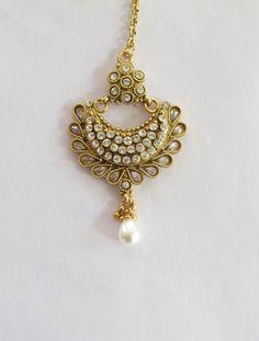 Gold Kundan Maang Tikka/Gold Tikka/Indian India by Beauteshoppe