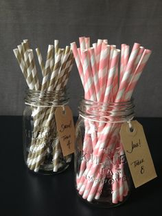 100 x Paper Straws  Rose & White Striped Paper by thejourneysend, $15.00 ~ wedding colors, wedding straws, sweets table