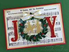 """Night in Bethlehem, Merry Mistletoe (sentiment), Gold Foil, Red Glimmer Paper, Boxwood Wreath Embellishments, Gold Metallic Edge Ribbon, Year of Cheer Specialty Washi Tape, Large Letters Framelits, 3/16"""" Circle punch (not SU), Gold embossing powder (exterior)"""