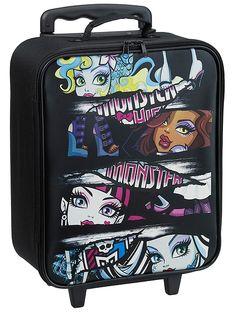 Tyylikäs Monster High -vetolaukku rullaa mutkattomasti eteenpäin pyörillään. Sisäpuolella olevat remmit takaavat, että tavarat pysyvät tukevasti paikoillaan. Koko: 37 x 31,5 x 15,5 cm.
