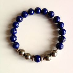 Brain Tonic ~ Genuine Lapis Lazuli & Pyrite Bracelet w/ Sterling Silver Spacers and Caps