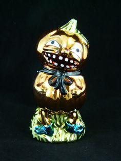Halloween Jack O Lantern Pumpkin Head Ornament Decoration Vintage Style