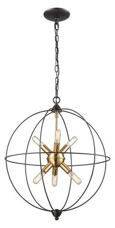 Artistic Home & Lighting Loftin 6 Light Chandelier In Oil Rubbed Bronze With Satin Brass Accents Dining Chandelier, Luxury Chandelier, Chandelier Lighting, Chandeliers, Elk Lighting, Home Lighting, Island Lighting, Kitchen Lighting, Lighting Ideas