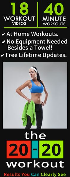 The 20-20 Workout Launch! It's here--- the workout program that you can literally do anywhere! Be warned: this is not a quick fix workout program. But if you're willing to put in the time and intensity, you found your match :-) ✔️ 30 Day Money Back Guarantee! + many bonuses including a custom premium workout towel!