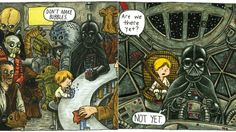 Jeffrey Brown, an artist and author, is imagining that lovely and hilarious alternate reality of Darth Vader Dad with the children's book, 'Darth Vader and Son'. The book shows completely lighthearted situations and classic father and son moments with Darth Vader and young Luke Skywalker. 'Darth Vader and Son' comes out on May 4th for $15.