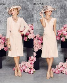 A-line Chiffon Short Knee Length Blushing Pink Summer Mother Of The Bride Dresses Suits With Jacket Chiffon Bolero Wedding Guest Outfits