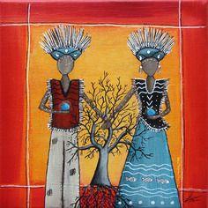 "www.cewax.fr aime Tableau peinture ethnique Tableau peinture ethnique ""les gardiens de la terre"" sur toile 20x20cm"