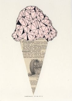 collage -- line network, ice cream, old drawing, mixed media