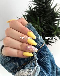 23 Great Yellow Nail Art Designs 2019 naildesigns nailart , art designs great nail nailart naildesigns yellow, NailDesing, Nail Desing is part of Cute White nails Ongles - Cute White nails Ongles Summer Acrylic Nails, Best Acrylic Nails, Acrylic Nail Art, Acrylic Nails Yellow, Spring Nails, Yellow Nails Design, Yellow Nail Art, Cute Nails, Pretty Nails