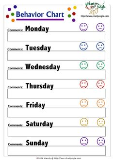 Weekly Smiley Behavior Chart | Pinterest | Parents, The o'jays and ...