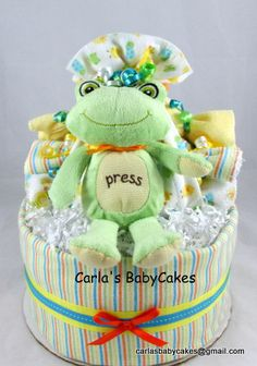 Neutral Baby Diaper Cake Baby Shower by MsCarlasBabyCakes on Etsy, $48.00