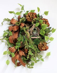 Fall Wreath Copper Brown & Lime Green Country by FloralsFromHome