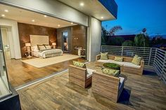 45 Backyard Deck Ideas (Beautiful Pictures of Designs) Outdoor deck steps from bedroom with patio furniture and large retractable door The post 45 Backyard Deck Ideas (Beautiful Pictures of Designs) appeared first on Outdoor Diy. Transformer Un Garage, Converted Garage, Deck Steps, Modern Deck, Bedroom Balcony, Balcony Design, Deck Design, Master Bedroom Design, Master Bedrooms
