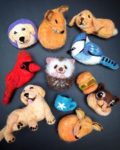 Cute Needle felted project wool animals(Via @feltyzakka)