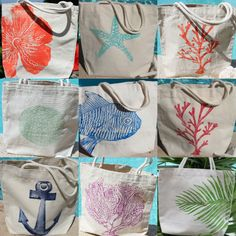 Hmm, i love totes.would love to find stencils similar to these designs and try this myself. The starfish, i think. Seaside Home Decor, Beach Cottage Decor, Home Decor Shops, Coastal Decor, Coastal Living, Tropical Decor, Eco Friendly, Gift Bags, Tote Bags