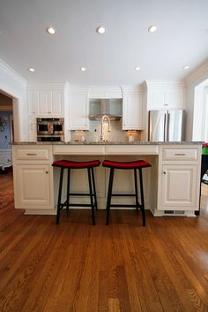 This custom Shaker Heights kitchen was formally a dining room.  This project was a total layout change for the first floor.  Dimmable recessed lighting provides ample light for the large space.