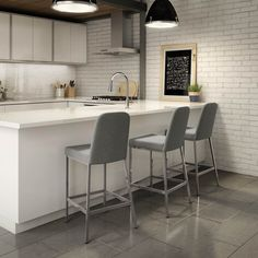 Amisco Spoon Metal Stool, Non-Swivel, Upholestered Seat and Backrest, Bar Height