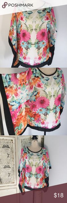Status By Chenault Women's Floral Abstract Top Status By Chenault Women's Floral Abstract Print Top Sz S NWOT.  Details:  Cut in a billowy poncho-style silhouette, Status by Chenault's exclusive-to-Bloomingdale's blouse features a vibrant abstract floral print. Balance the relaxed fit with sleek skinny jeans and polished pumps. Fits true to size, order your normal size. Cut for a relaxed fit. Round neck, poncho-style short sleeves. Abstract floral print, contrasting chiffon trims, pullover…