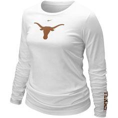 Nike Texas Longhorns Ladies White Classic Logo Long Sleeve T-shirt Texas Longhorns T Shirts, Texas Shirts, College Football, Texas Pride, University Of Texas, Plus Size, My Style, Lady, Ladies White