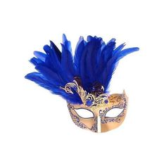 Farfallina Piume Metallo Dark Blue/Gold ❤ liked on Polyvore featuring mask