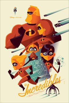 Tom Whalen – The Incredibles Disney Pixar Mondo Poster Print Disney Pixar, Walt Disney, Disney E Dreamworks, Disney Films, Disney Magic, Disney Villains, Ariel Disney, Disney Couples, Tom Whalen