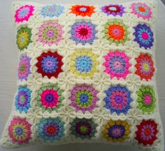 colorful granny sqaure cushion cover by handmadebyria on Etsy, $40.00