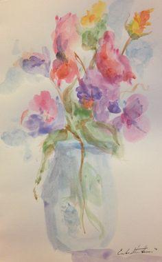 Watercolor Card - Flowers in Jar