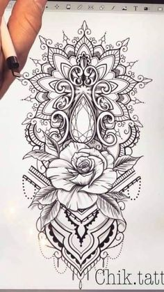 Mandala Rose Edelstein Tattoo tatuagem tatuagem cascavel tatuagem de rosa tatuagem delicada tatuagem e piercing manaus tatuagem feminina tatuagem moto clube tatuagem no joelho tatuagem old school tatuagem piercing tattoo shop Mandala Tattoo Design, Dotwork Tattoo Mandala, Mandala Tattoo Sleeve, Arm Tattoos, Rose Tattoos, Body Art Tattoos, Sleeve Tattoos, Lace Flower Tattoos, Rose Tattoo On Thigh