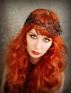 beautiful delicate black beaded and lace crown. want to make and i want my hair to be that exact color. and style.
