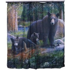 Another great find on De Leon Collections Rustic Cabin Bathroom, Lodge Bathroom, Cabin Bathrooms, Rustic Shower Curtains, Shower Curtain Hooks, Bathroom Curtains, Scary Dogs, Bear Images, Mother Bears