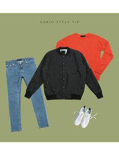 [[DSSM.111] 런던 MA-1 스타디움 점퍼] 블루종 코디 남성 쇼핑몰 Korean Fashion Men, Mens Fashion, Daily Look, Men Casual, Denim, Jackets, Clothes, Man Fashion, Down Jackets