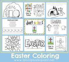 Just Color Easter ~ free coloring printables, some with Easter Bible verses to trace! - these would be great printables to send to our sponsored kids! Free Easter Coloring Pages, Easter Colouring, Free Coloring, Coloring Set, Colouring Sheets, Holy Week Activities, Easter Activities For Kids, Bible Activities, Preschool Ideas