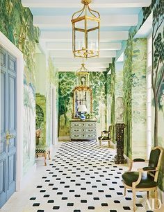// black and white floors and mural walls in a miles redd hallway // Architectural Digest, Flur Design, Art Decor, Decoration, Home Decor, Floor Patterns, Tile Patterns, Deco Design, Design Design