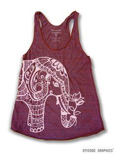 Ethnic Elephant Print (American Apparel Tri-Blend Racerback Tank Top)