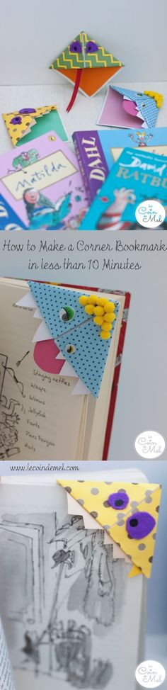 10 minute crafts: Make a Corner Bookmark - these are cute, take less than 10 minutes and require little more than card & glue! Cute party favours or crafty day activity